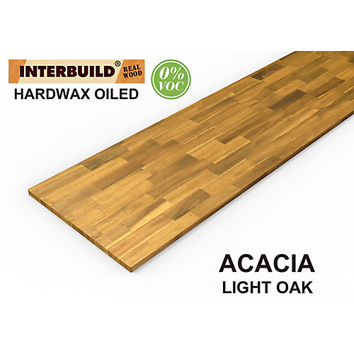 96 inch x 25.5 inch x 1 inch Acacia Wood Kitchen Countertop Light Oak