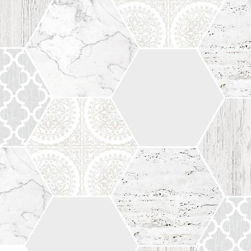 Hexagonal Marble Gray/White Removable Wallpaper