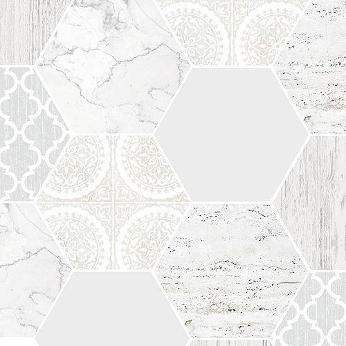 Graham & Brown Hexagonal Marble Gray/White Removable Wallpaper Sample