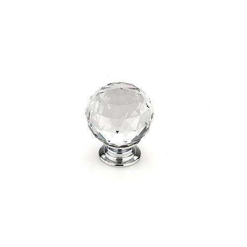 Pordenone Collection 1 3/16 in (30 mm) Clear, Crystal, Chrome Contemporary Cabinet Knob
