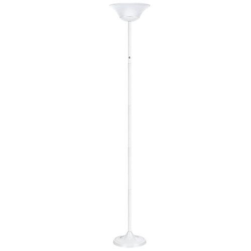 Lampe sur pied de 72In à DEL intégré de 15W, fini blanc mat