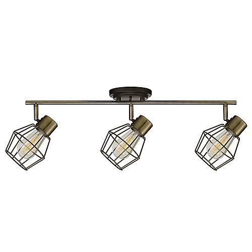Rail d'éclairage Collection Jax à trois lampes, ampoules incluses, fini étain antique