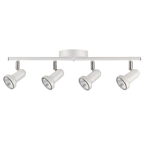 Rail d'éclairage, Collection Melo à 4 lampes, ampoules incluses, fini blanc satiné