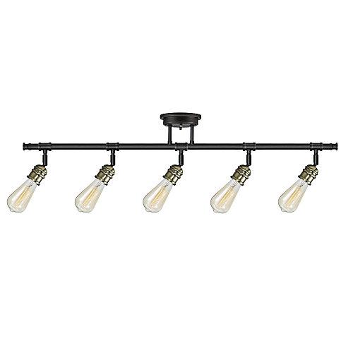 Rail d'éclairage, Collection Rennes à 5 lampes, ampoules incluses, fini bronze brossé