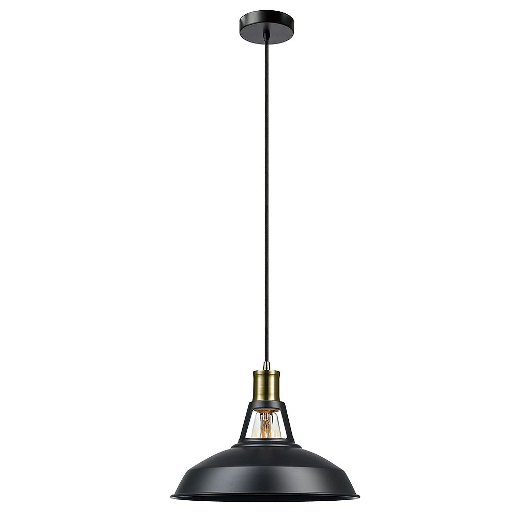 Globe Electric Robin 1-Light Plug-In or Hardwire Pendant Light Fixture in Satin Black