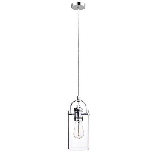 Pendentif enfichable ou câblé de collection James à 1 lumière en chrome poli avec abat-jour en verre transparent