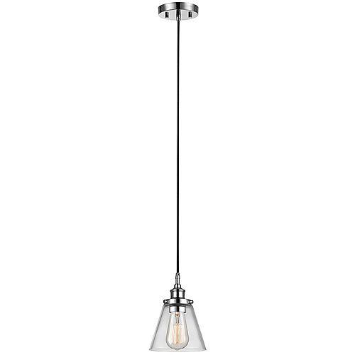 Pendentif à ampoule, fini chrome, ampoules Vintage Edison incluses