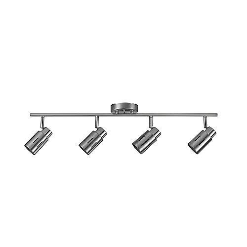 Ensemble d'éclairage sur rail à 4 lumières, collection Kenneth, acier brossé, ampoules DEL incluses- ENERGY STAR®