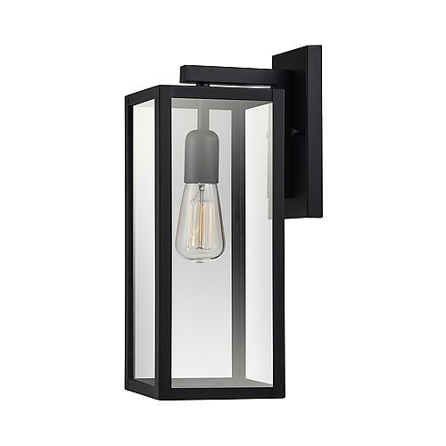 Bowery 1-Light Matte Black Outdoor Indoor Wall Sconce with Clear Glass Shade