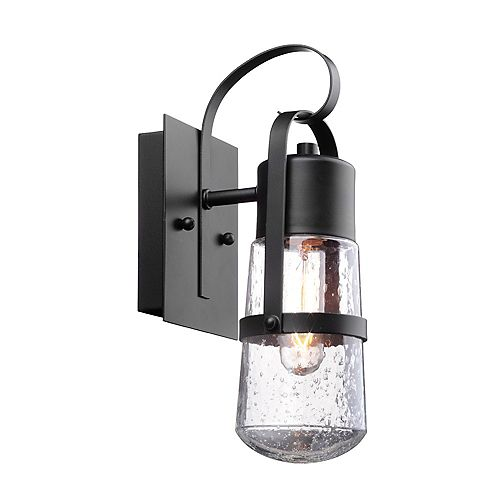 Helm 12-inch 1-Light Matte Black Outdoor Wall Sconce with Clear Seeded Glass Shade