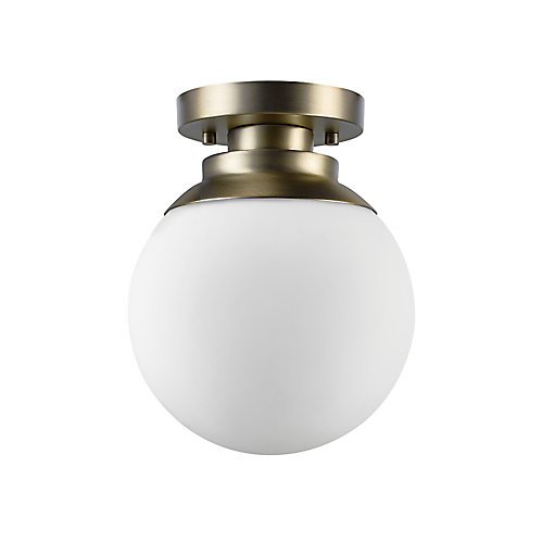 Portland 1-Light Semi-Flushmount Ceiling Light in Brass