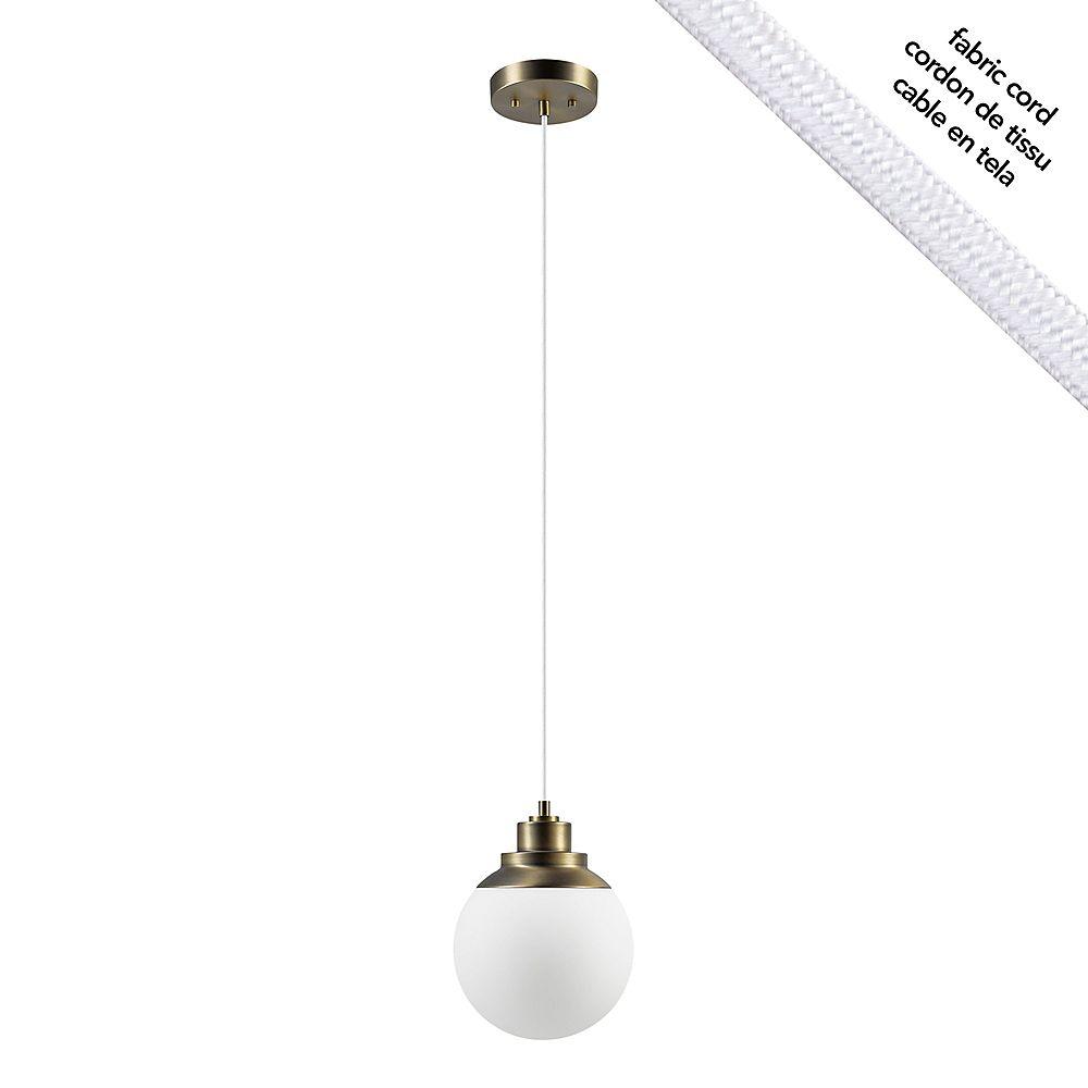 Globe Electric Luminaire suspendu à 1 ampoule Portland, 60 W, laiton