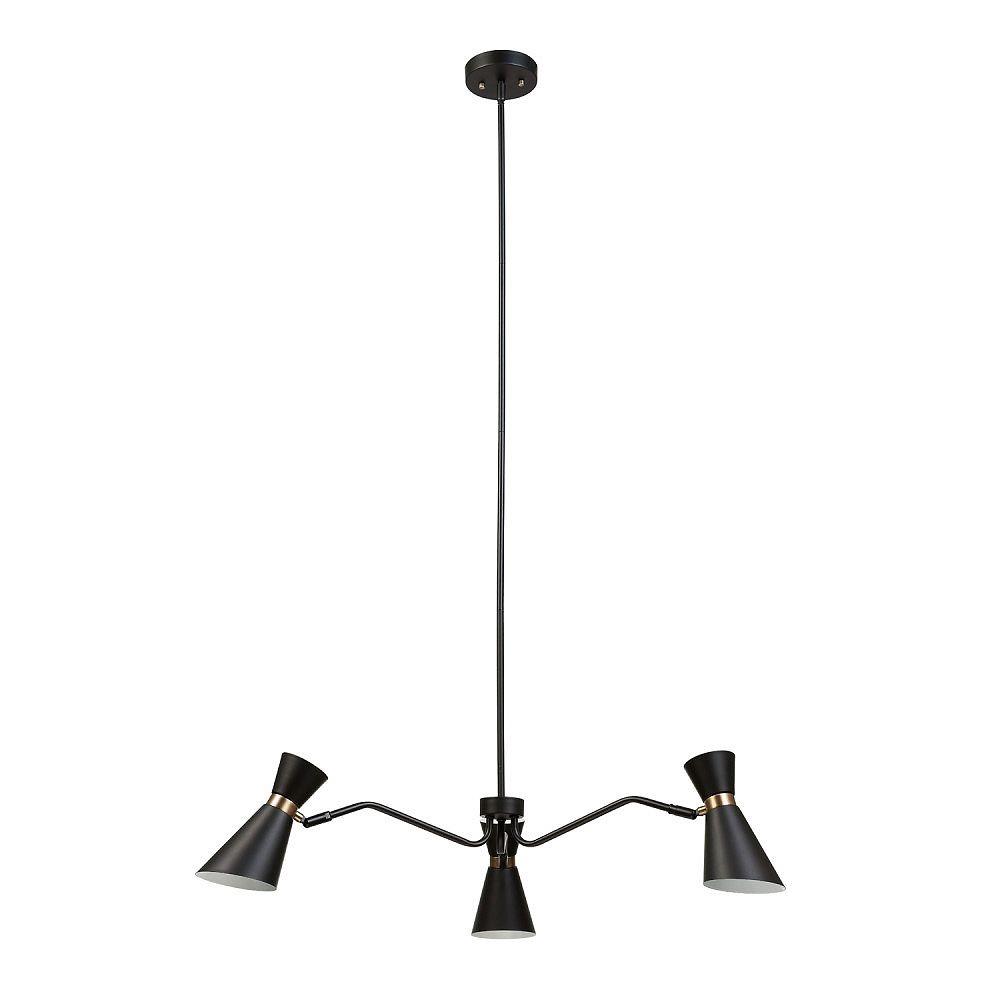 Globe Electric Lustre à 3 ampoules, fini noir et or, collection Belmont