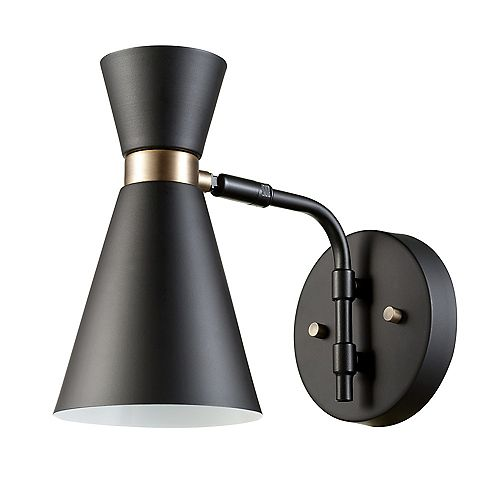 Belmont 1-Light Black and Gold Wall Sconce