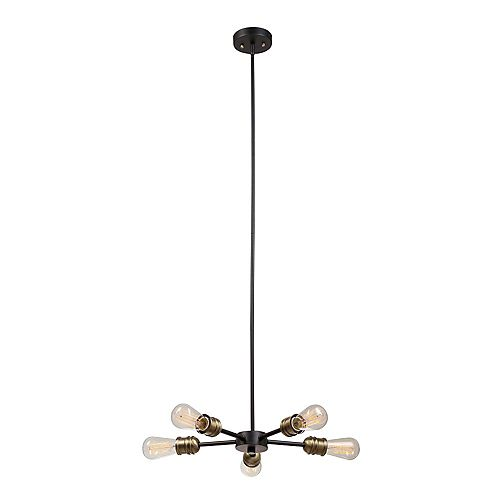 Beaugard 5-Light Chandelier in Matte Black with Antique Brass Sockets