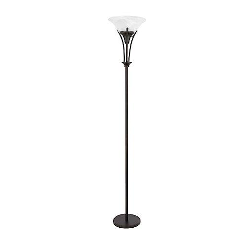 Gatineau 71 Inch Dark Bronze Floor Lamp with Alabaster Glass Shade