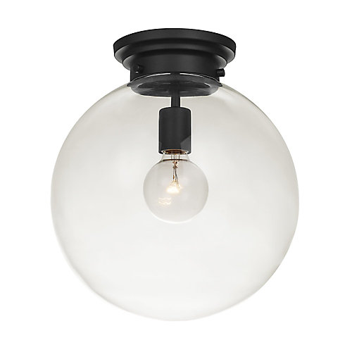 Portland 1-Light Black Semi-Flush Mount Ceiling Light Fixture