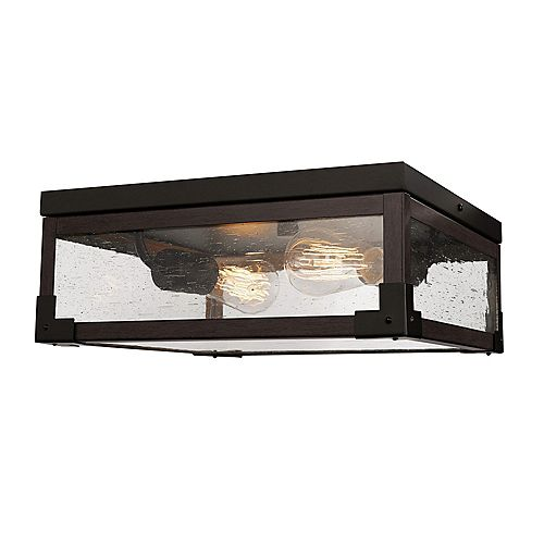 Williamsburg 2-Light Dark Bronze Flush Mount Ceiling Light with Seeded Glass Panes