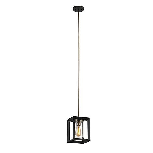 Verona 1-Light Pendant Light Fixture in Dark Bronze with Clear Glass Shade