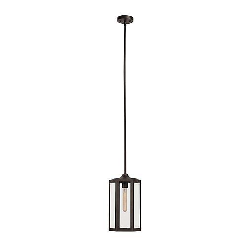 Globe Electric Marbella 1-Light Dark Bronze Pendant, Vintage Edison Tube Bulb Included
