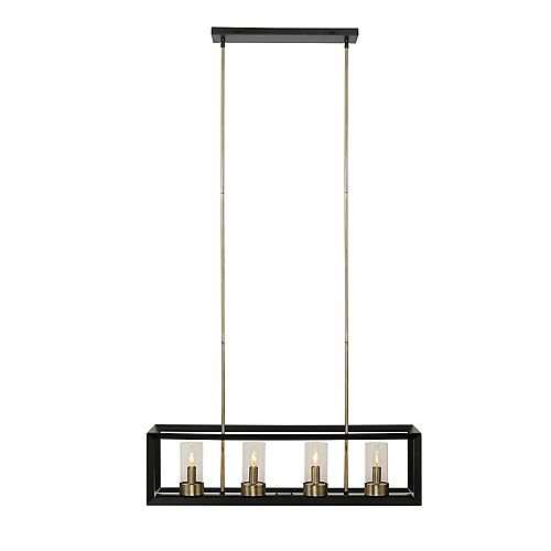 Globe Electric Verona 4-Light Dark Bronze Chandelier with Clear Glass Shades