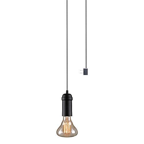 Pendentif à douille suspendue à ampoule unique Edison, enfichable, fini mat noir