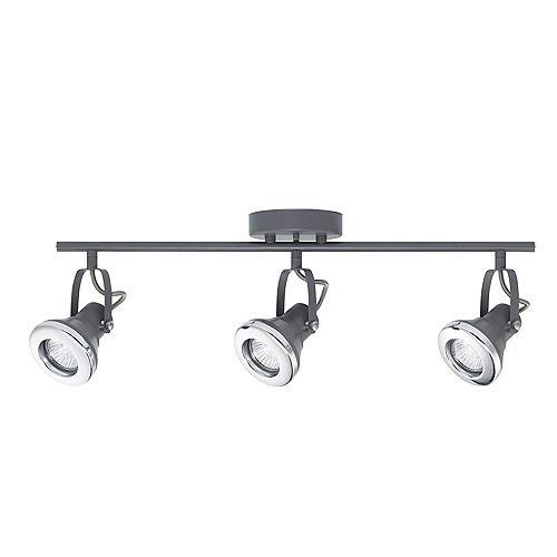 Globe Electric Kit d'éclairage sur rail Lawrence à 3 ampoules, fini gris