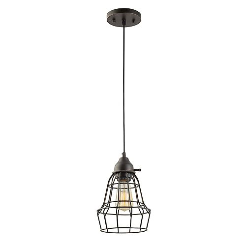 Globe Electric Elior 1-Light Pendant Light Fixture in Oil Rubbed Bronze & Black