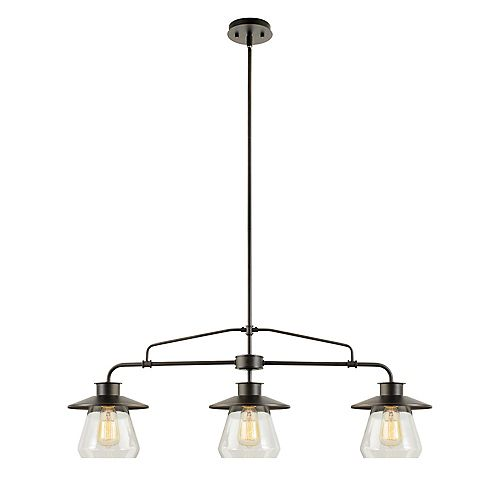 Nate 3-Light Pendant Light Fixture in Oil-Rubbed Bronze