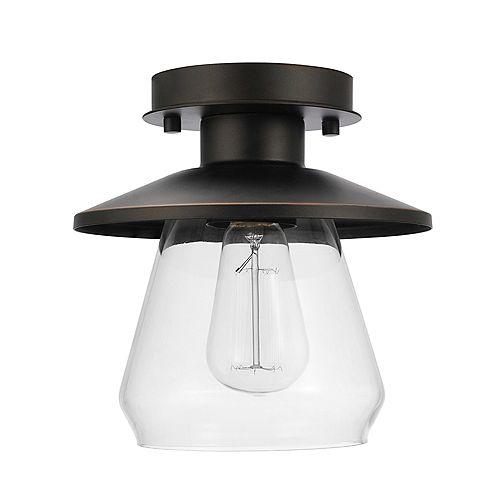 Nate 1-Light Oil Rubbed Bronze Semi-Flush Mount Ceiling Light Fixture