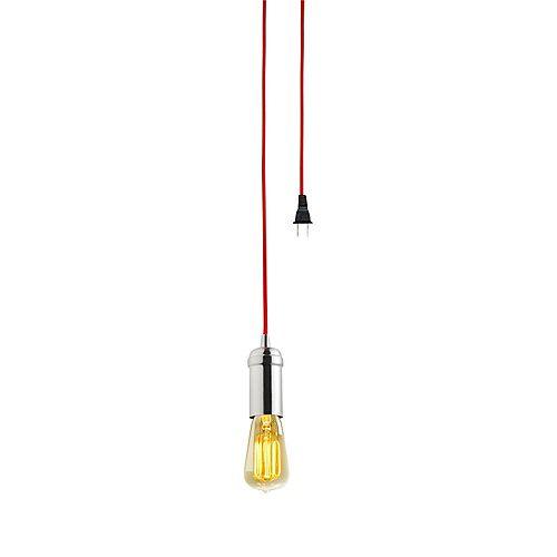 Mini-pendentif enfichable à 1 ampoule style vintage Edison, fini en acier brossé