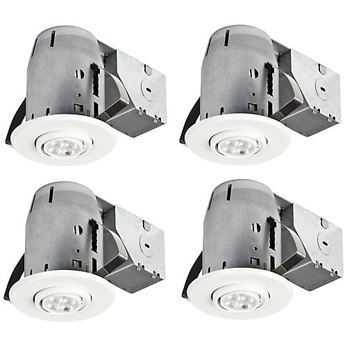 3-inch IC Rated Dimmable Recessed Lighting Kit in White with LED Bulb (4-Pack)