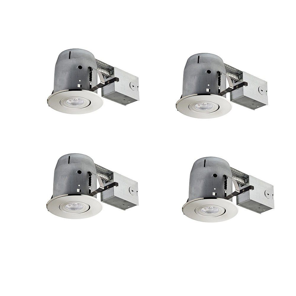 Globe Electric 4 inch Brushed Nickel IC Rated Recessed Lighting Kit (4-Pack), LED Bulbs Included