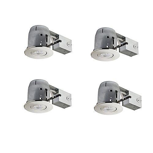Globe Electric Ensemble d'éclairage encastré classé IC de 4 po en nickel brossé ensemble de 4, ampoules DEL incluses