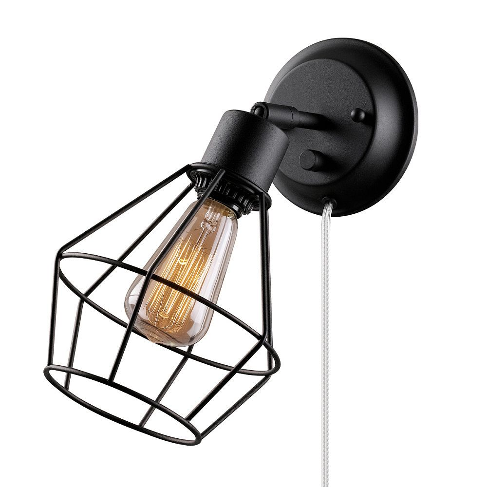 Globe Electric Verdun 1 Light Plug In Or Hardwire Industrial Cage Wall Sconce In Matte Bla The Home Depot Canada