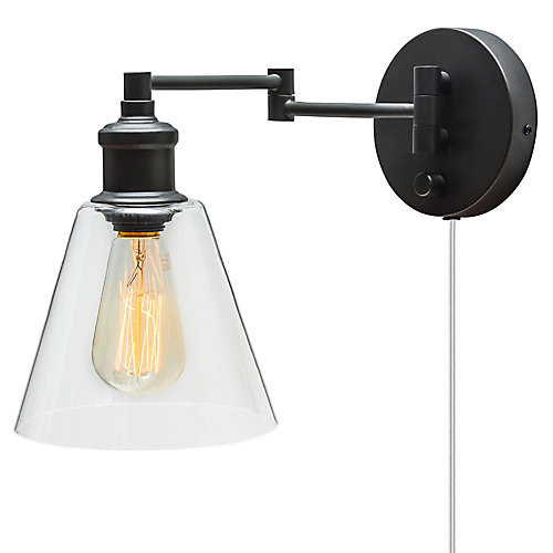 LeClair 1-Light Dark Bronze Plug-In or Hardwire Industrial Wall Sconce