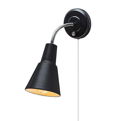 Applique murale à 1 ampoule Ramezay, fini noir mat, cordon électrique clair de 6'