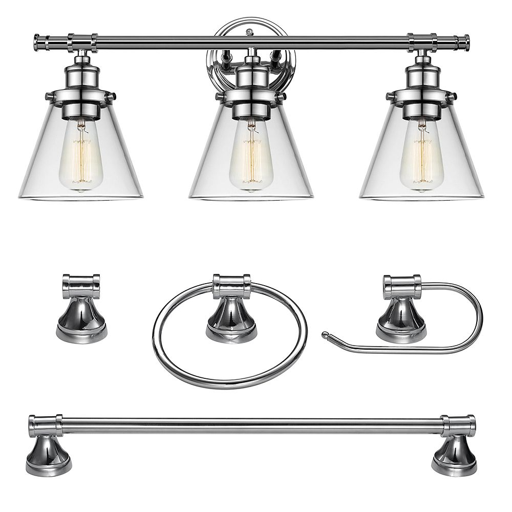 Globe Electric Parker 3-Light Chrome 5-Piece All-In-One Bath Vanity Light Set