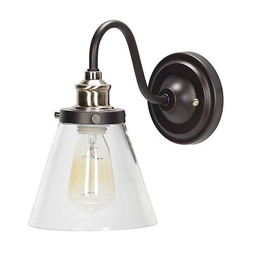 Jackson 1-Light Oil Rubbed Bronze and Antique Brass Wall Sconce Light