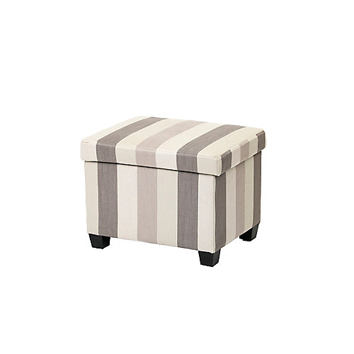 Striped Linen Storage Ottoman with Hinge