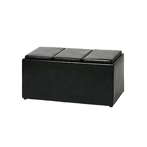Storage Bench with 3 Reversible Tray/Cushions in Black