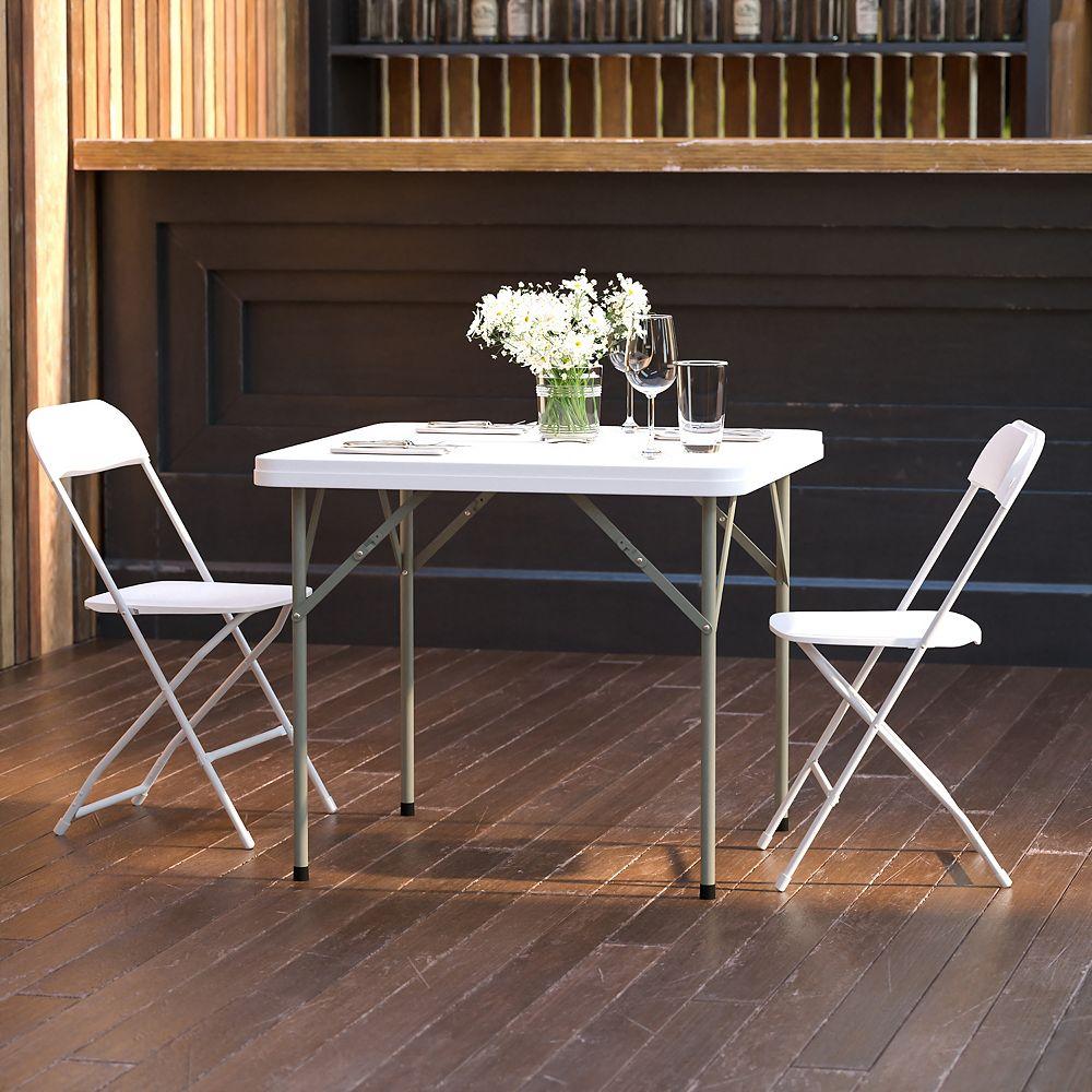 Flash Furniture Table pliante carrée en plastique de 86,36cm (34po)