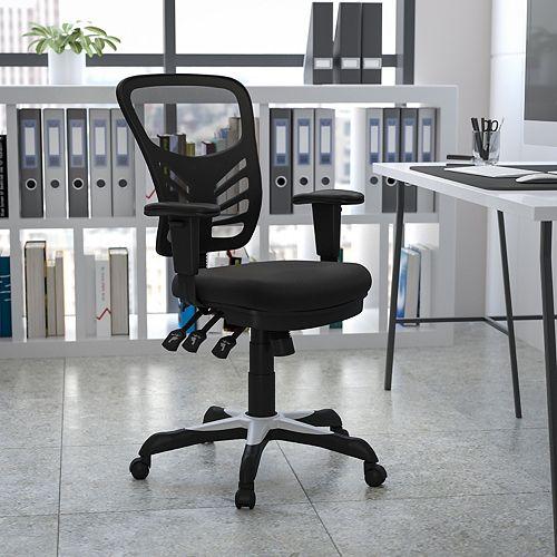 Chaise de bureau à dossier mi-dos avec accoudoirs