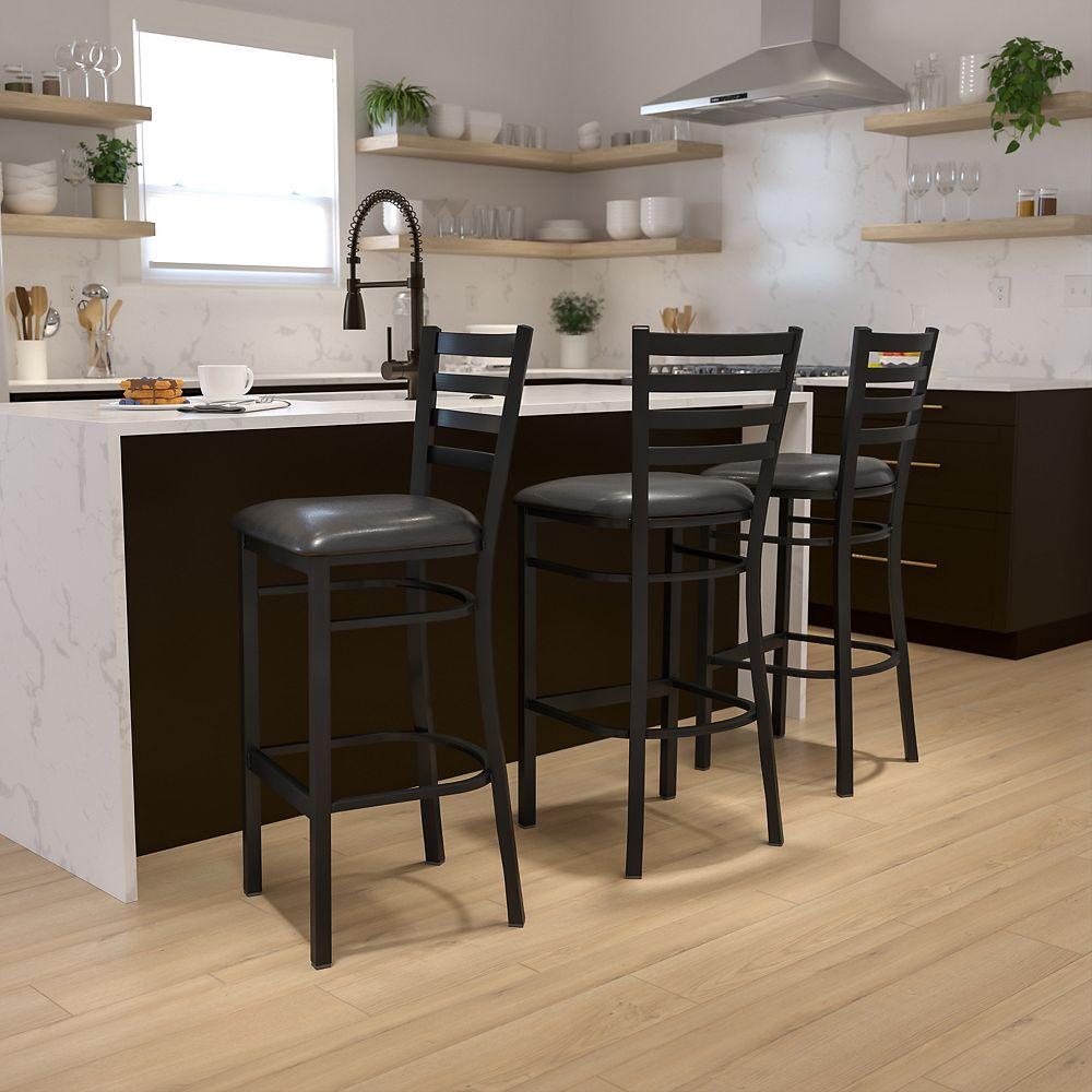 Flash Furniture Tabouret en métal avec dossier à traverses horizontales