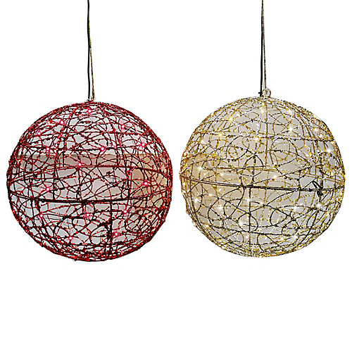 Assorted Light-Up Ornaments in Gold/Red