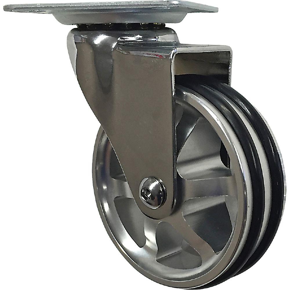 Shepherd Hardware Designer Premium Series 3-inch Mag Designer Caster, Chrome Bling, TPU Tread