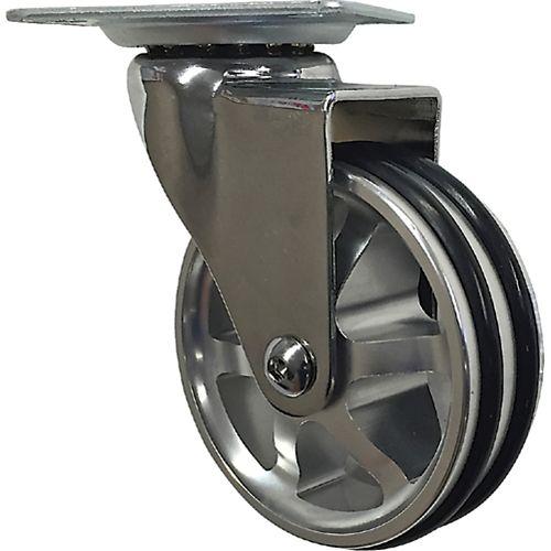 Designer Premium Series 3-inch Mag Designer Caster, Chrome Bling, TPU Tread