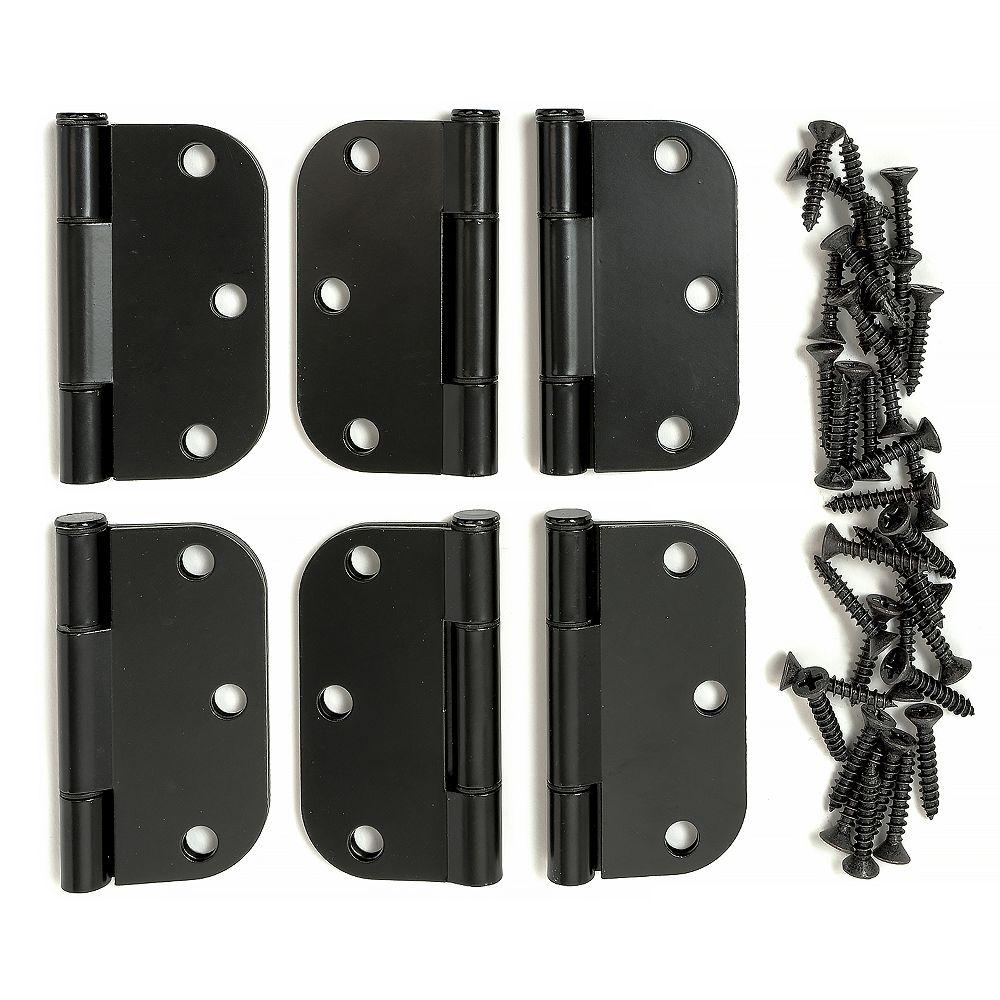 SQUEAK PROOF 3 inch Blk 5/8 Hinge (6-Pack)