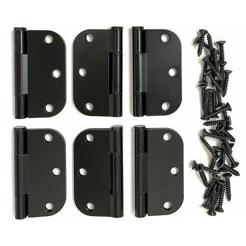 3 inch Blk 5/8 Hinge (6-Pack)