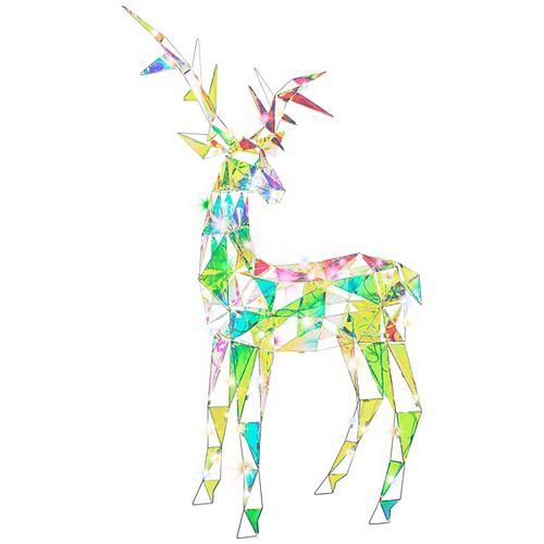 72-inch Christmas Sparkle Modern Angular-Iridescent-Reindeer Buck in White